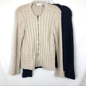 Lot of 2 Liz Claiborne cable knit zip up sweaters